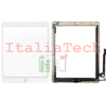 VETRO TOUCHSCREEN ASSEMBLATO per iPad 4 touch screen tasto home biadesivo BIANCO