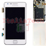 DISPLAY LCD SAMSUNG GALAXY I9100 S2 TOUCHSCREEN FRAME TASTO HOME ORIGINALE BIANCO