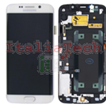DISPLAY LCD ORIGINALE Samsung G925F Galaxy S6 Edge BIANCO vetrino touch vetro schermo