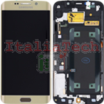 DISPLAY LCD ORIGINALE Samsung G925F Galaxy S6 Edge ORO vetrino touch vetro schermo