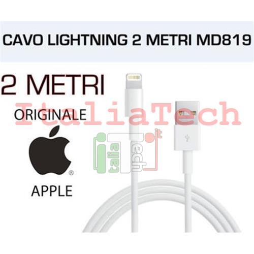 CAVO USB Lightning ORIGINALE APPLE MD819ZM/A 2 METRI PER IPHONE 5 5s 5c 6  6s 7 plus IPAD