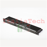 "PATCH PANEL UTP CAT6 24 PORTE RJ45, PER RACK 19"", BLACK"