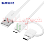 Cavo Dati 2in1 SAMSUNG Combo Type-C MicroUSB ORIGINALE EP-DG930DWE A520,Note8,S8